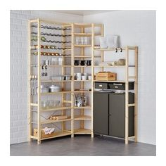 IKEA - IVAR, 3 section shelving unit w/cabinets, Untreated solid pine is a durable natural material that can be painted, oiled or stained according to preference.You can personalize the furniture even more by staining or painting it your favorite color.You can move shelves and adapt spacing to suit your needs.Solid pine is a natural material which ages beautifully and gains its own unique character over time.