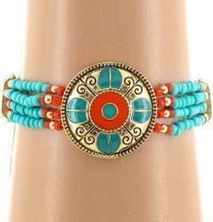 Southwestern Turquoise & Coral Medallion Seed Bead Stretch Bracele by Silverfox Promotions, http://www.amazon.com/dp/B008PPXLEE/ref=cm_sw_r_pi_dp_crrtqb1EPZ4TQ