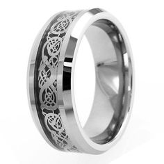 An elegant silver Celtic dragon against a black background in a silver tungsten ring. For men and women. Wholesale Tungsten Rings | Wedding Bands. www.925express.com