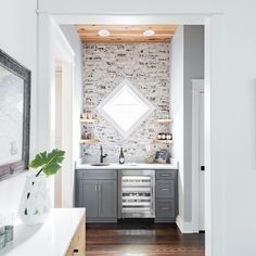 The beauty of a is in its beauty and function. It adds an extra zone / prep surface separate from the kitchen which keeps guests out of the kitchen and closer to the entertainment area. Grey Bar, Butler Pantry, Bars For Home, Kitchen And Bath, Modern Farmhouse, Entertainment Area, Separate, Closer, Kitchens