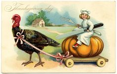 Vintage Thanksgiving Image - Chef with Turkey - The Graphics Fairy