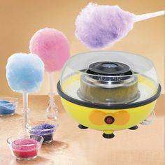 Pano Cotton Candy Maker Cotton Candy Machine Homemade Sweets Quick Heat Up Mini Size One Click Button Yellow - Cool Kitchen Gifts Cool Kitchen Appliances, Cool Kitchens, Home Appliances, Floss Sugar, Candy Floss, Homemade Sweets, Sugar Candy, Halloween Festival, Kitchen Gifts