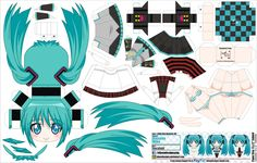 papercraft miku for when you are bored , or want to try something new, ^-^ hope you like it Miku Chibi, Anime Chibi, Hatsune Miku, Kawaii Anime, Anime Art, Anime Crafts, 3d Paper Crafts, Paper Toys, Cartoon Paper