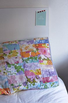 Look What I Made: Scrappy Vintage Sheet Quilted Pillow Case