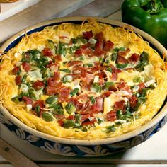 Noodle-Crusted Denver Quiche    A savory baked egg dish makes a great addition to a weekend brunch.