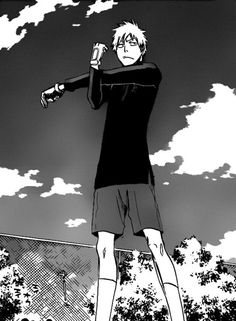 Ichigo. Haha he's doing the stretch we did in soccer! Yeah... HE'S A goalKEEPER? Ok. OK. (ron ron sssshhh)