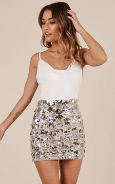 Silver outfits are one of the basics that will never go out of style and always ., Silver outfits are one of the basics that will never go out of style and will always make you look elegant at any party or event you go to. Nye Outfits, Casual Skirt Outfits, Night Outfits, Spring Outfits, Fashion Outfits, Vegas Outfits, Party Outfits, Woman Outfits, Fashion Ideas