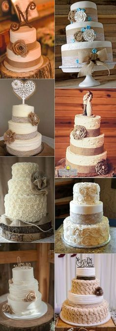 country rustic burlap and lace wedding cakes for fall #weddingcakes