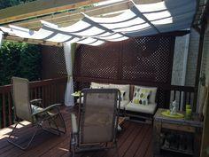 Diy pergolas sliding shade . Will post a How to later