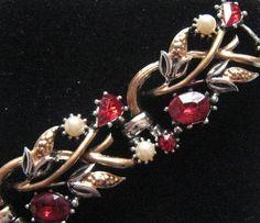 Vintage Bracelet Tennis Red Rhinestone Tennis Gold tone Jewelry lot b
