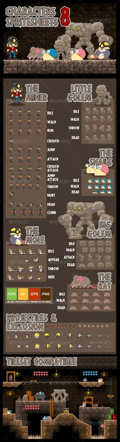 Game sprites with miner, golem, rat, and other underground cave creatures Sprites, Game Character Design, Game Design, Pixel Art, Jeopardy Game Template, 2d Game Background, Game Programming, Game Effect, 2d Game Art