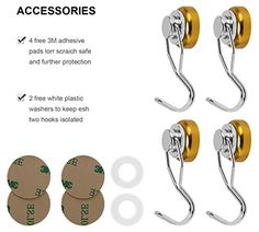 awesome Ant Mag Swivel Magnetic Hooks 50lbs Heavy Duty Neodymium Magnet Hooks 4 Pack with Scratch Proof Stickers Great for Home Refrigerator Kitchen Store Grill BBQ Office Warehouse (Yellow)
