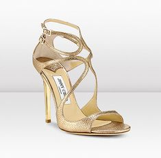 Jimmy Choo   LANCE     For red carpet glamour, try LANCE strappy sandals in gold glitter leather, featuring a 115mm heel.