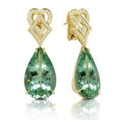 Mint green tourmaline and diamond earrings by Tamir