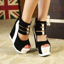 Il trasporto libero 2014 nuova stella estate gladiator caviglia punta aperta cinturino in metallo alti talloni dei cunei sandali sexy scarpe da donna  (China (Mainland))