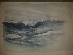 Oprørt hav akvarel