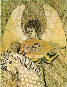 The earliest English image of a lute, from the Steeple Aston cope, c1300-1320. From David Van Edwards history of the lute page