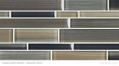 This is a color swatch of Surface Art Inc's Translucent Fresco Glass Tile. Here it is shown in the color Brushed Rock. This contemporary glass tile is available in a unique mosaic pattern that is perfect for a unique glass tile backsplash.
