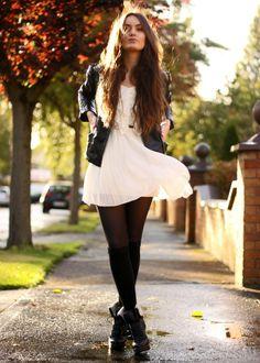 looks com vestidos e saias para o inverno. preto e branco