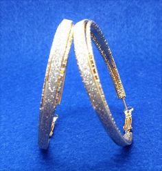 Stars shine fashion big round trendy loop earrings,Gold plated.