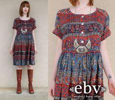 Vintage Hippie Dress Vintage Indian Dress Vintage 90s does 70s India Hippie Boho Festival Cotton Tent Mini Dress S M L