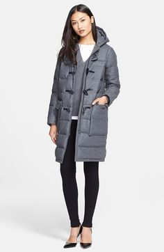 looking good in a puffer - Theory 'Emmitt' Wool Blend Hooded Puffer Coat available at #Nordstrom