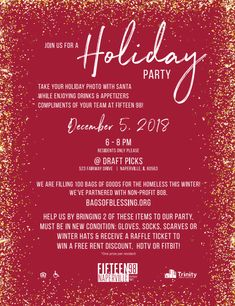 It's time for our Naperville Holiday Party! Join us on December for photos with Santa, drinks, and appetizers. Plus, bring a donation and you'll be entered into our raffle! We hope to see you there!
