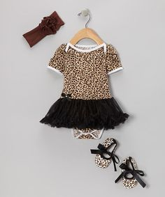 Take a look at this Black Cheetah Skirted Bodysuit Set - Infant by Baby Gem by Royal Gem Clothing on #zulily today!