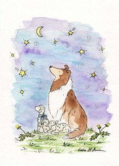 Items similar to Nursery Art- Collie Dog Wishing Star- PRINT for Baby- Nursery Decor- Children's Wall Art- Nursery Wall Art- Dog Art Print Kids Wall Art on Etsy Puppy Nursery, Nursery Art, Rough Collie, Collie Dog, Childrens Wall Art, Art Wall Kids, Dog Illustration, Shetland Sheepdog, Sheltie
