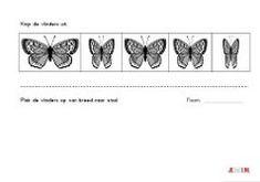Dit werkblad oefent het seriëren van breed naar smal. Laat de kinderen de vlinders uitknippen en op volgorde leggen van breed naar smal. Daarna op de onderste helft van het werkblad op laten plakke…