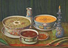 Qajar crockery and gastronomy back to 19th century in Iran. This is a painting of course.