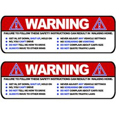 Visor stickers Set - Funny Safety Instructions for MINI Cooper Sun Visors