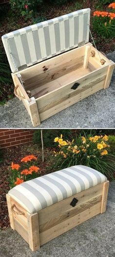 Project ideas for pallet storage boxes # Range furniture., Project ideas for pallet storage boxes projects # Pallet furniture Pallet Kids, Wooden Pallet Projects, Pallet Crafts, Diy Pallet Furniture, Wooden Pallets, Wooden Diy, Wood Crafts, Pallet Wood, Diy With Pallets