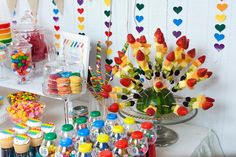 Rainbow bday party theme (appropriate for ages that can chew gum, eat jelly beans, starburts, etc)