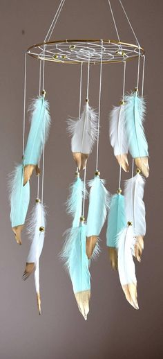 Custom Feather Baby Mobile Dreamcatcher Mobile Baby Girl 9ecca568d024