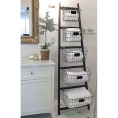 Vintage Home Wood Ladder with 5 Wire Baskets - Why We Love It Who ever said ladders are for climbing? Our stylish metal ladder with wire baskets is cute, creative and perfect for those looking for extra storage. Wood Ladder, Ladder Decor, Rustic Ladder, Diy Storage Ladder, Extra Storage, Storage Ideas, Storage Solutions, Diy Ladder, Ladder Shelves