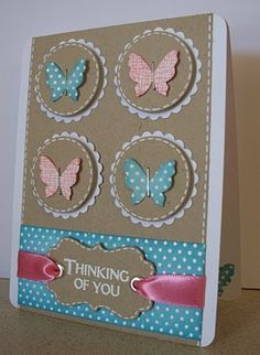 Thinking of You Card, loving all these ideas for quick cards when you don't feel like busting out the Cricut.