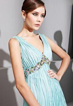 Gradient Blue V-neck Folden Evening Dress  81036