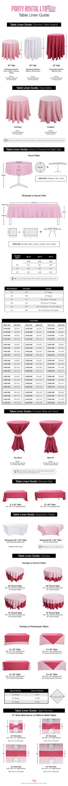 The Ultimate Guide to Table Linen Sizes is your guide you choosing tablecloth sizes for weddings and events. Wedding Tips, Trendy Wedding, Wedding Events, Weddings, Wedding Tablecloths, Wedding Table Linens, Wedding Decor, Party Planning, Wedding Planning