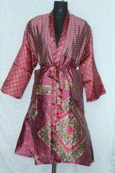 Patchwork Jacket Dress Indian Woman's Shower Bathrobe Silk Sari Kimono Sk-1042 #Handmade #Kimono #AnyOccasionCasual