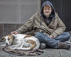 "Blaming Homeless People -- Every single day I get the same memo – ""What are we going to do with billion people on earth? Homeless Dogs, Homeless People, Helping The Homeless, Mans Best Friend, Best Friends, Man And Dog, Dog Love, Cute Kids, Street Photography"