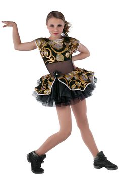 15307 She's Got The Look | Tap Jazz Funk Dance Costumes | Dansco 2015 |  Black spandex short unitard with black mesh insert and sequin on black mesh overlay and attached skirt. Separate black chiffon tutu. Hologram foil printed white spandex binding and jeweled flower on pin trim. 15307-Gold 15308-Fuchsia 15309-Peacock Headpiece included.