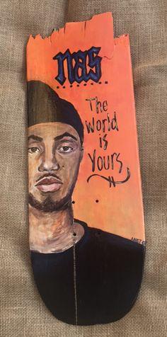 #art#rapper#nas#handpainted#recycled #skateboard#brokenskateboard