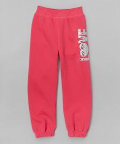 Love this Fuchsia 'Love' Sweatpants - Girls by Girls Luv Pink on #zulily! #zulilyfinds