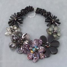 Black Agate, Smokey Quartz and Mother of Pearl Necklace (Thailand) | Overstock.com Shopping - Great Deals on Necklaces