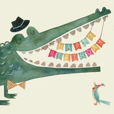 Muriel Courtois - MurielCourtois_GC_crocodile And Bird - Muriel Courtois – MurielCourtois_GC_crocodile And Bird # crocodile - Happy Birthday Messages, Happy Birthday Images, Happy Birthday Greetings, Birthday Pictures, Birthday Quotes, Illustration Crocodile, Happy Birthday Illustration, Bday Cards, Happy B Day
