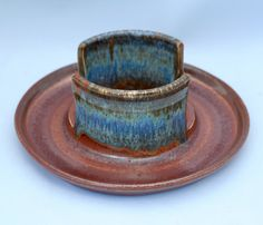 Stoneware pottery sponge holder/ business card holder, with attached dish, copper and blue glaze, sun stamp in center - pinned by pin4etsy.com