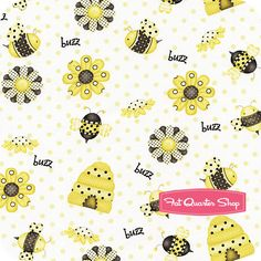 Bee Happy White Beehives and Flowers Yardage SKU# 6020-49