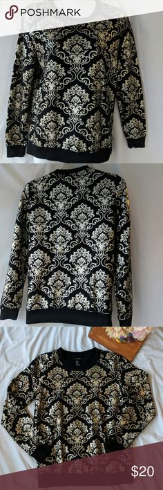 Forevee 21 black and shiny gold sweater sz  Small Never used. NWOT. Sz 2 Please see photos for approximate flat lay measurements. And don't forget take a look at everything in my closet too! Happy Poshing! ❤🎁 Forever 21 Sweaters