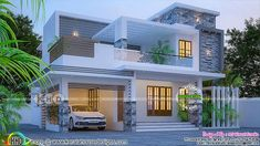 4 BHK stunning 2182 square feet Kerala home design 2182 square feet stunning flat roof contemporary home plan by MS Visual Studio from Thiruvananhapuram, Kerala. Indian Home Design, Kerala House Design, Indian Home Interior, Bungalow House Design, House Front Design, Duplex Design, House Plans Mansion, 3d House Plans, Flat Roof House